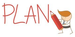 Man writing a plan word. Cartoon character of  man writing a plan word Royalty Free Stock Photo