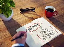 Man Writing and Planning Support Concepts Royalty Free Stock Photo