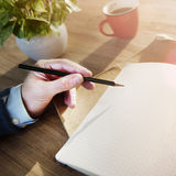 Man Writing Planning Thinking Cafe Copy Space Concept Stock Photos