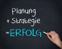 Man writing planung strategy and erfolg. On chalkboard Royalty Free Stock Photography