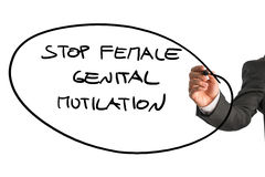 Man writing a sign Stop Female Genital Mutilation Royalty Free Stock Images