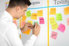 Man writing on sticky note attached to scrum task board in office stock images