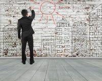 Man writing sun for building doodles old bricks wall , illustrat Royalty Free Stock Image