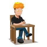 Man Writing Table Thinking Idea Royalty Free Stock Image