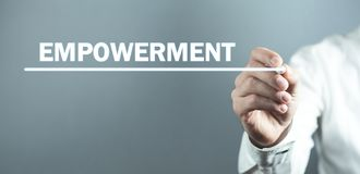 Man writing text Empowerment in screen. Business concept royalty free stock photo