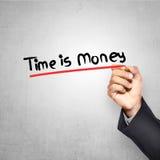 Man Writing Time Is Money Text Stock Photos