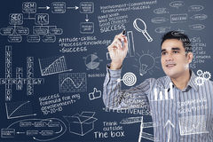 Man writing on transparent board Royalty Free Stock Photo
