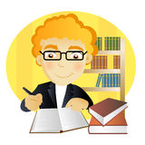 Man writting a notebook. Young man with glasses writting a notebook in a library Royalty Free Stock Photo