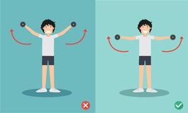 Man wrong and right dumbbell lateral raise posture vector illustration