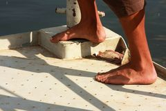 The man's feet on the board Stock Image