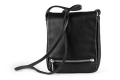 Man's leather black bag isolated on white Stock Photography