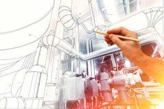 Man& x27; s ręka rysuje projekt fabryka Obraz Stock