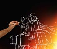 Man& x27; s ręka rysuje projekt fabryka Zdjęcia Royalty Free