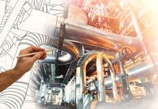 Man& x27; s ręka rysuje projekt fabryka Zdjęcie Stock