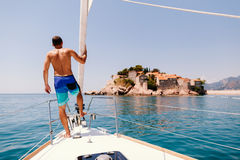 Man yacht in europe. Luxury yacht in Montenegro Royalty Free Stock Image