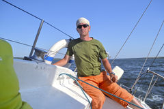 Man on a yacht Stock Image
