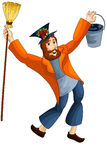 Man yardman broom bucket character cartoon  illustration Stock Photo