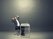 Man yawning and stretching oneself Stock Image