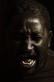 Man yelling (black and white photo) Stock Images