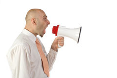 Man yelling into bullhorn Royalty Free Stock Photos