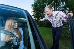 Man yelling at female driver Stock Images