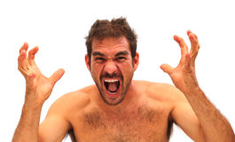 Man yelling with hands in air Royalty Free Stock Photos