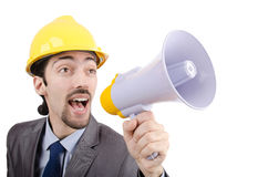 Man   yelling with loudspeaker Royalty Free Stock Photography