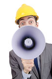 Man  yelling with loudspeaker Royalty Free Stock Images
