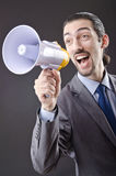 Man yelling with loudspeaker Royalty Free Stock Image