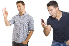 Man yelling at the phone and making ok sign. Two images of a man yelling at the phone and making ok sign Stock Image