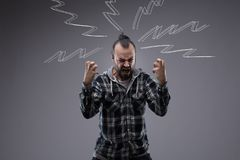 Man yelling and screaming with rage Stock Image