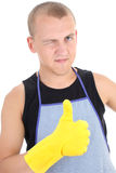 Man in yellow gloves giving a thumbs up Stock Photos