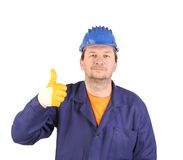 Man in yellow gloves show thumb up. Royalty Free Stock Photos