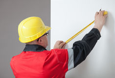 Man in the yellow hard hat Royalty Free Stock Image