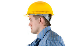 Man at yellow helmet Stock Photos