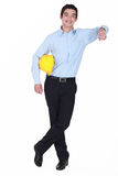 Man with yellow helmet Stock Photo