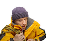 Man in yellow jacket Royalty Free Stock Photography