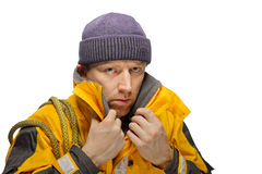 Man in yellow jacket Royalty Free Stock Images
