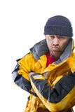 Man in yellow jacket Stock Photo