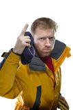 Man in yellow jacket Stock Photos
