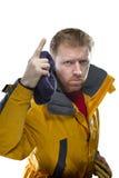 Man in yellow jacket Stock Photos
