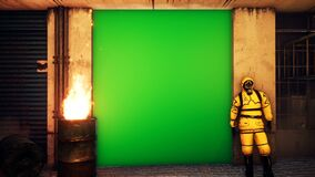 A man in a yellow protective suit stands outside the building against a green screen. Men in bacteriological suits and. Gas masks. Looping animation with an stock footage