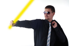 Man with yellow ray Royalty Free Stock Photos