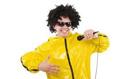 Man in yellow suit isolated Stock Image