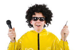 Man in yellow suit isolated Stock Images