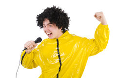 Man in yellow suit isolated Stock Photography