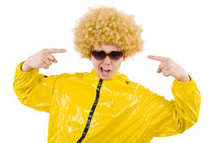 Man in yellow suit isolated Royalty Free Stock Photos