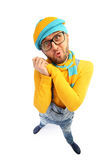 A man in a yellow sweater and overalls royalty free stock photography