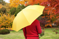 Man with yellow umbrella. Standing in park Royalty Free Stock Images