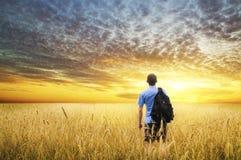Man in yellow wheat meadow. Stock Photo